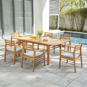 Gloucester Natural Wood Seven-Piece Patio Dining Set