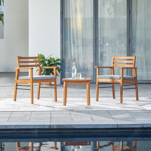 Gloucester Natural Wood Three-Piece Patio Conversation Set