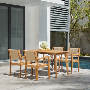 Chesapeake Brush Finishing Light Ashwood Five-Piece Wood Patio Dining Set