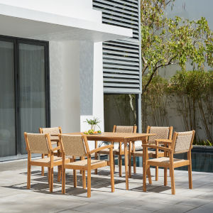 Chesapeake Brush Finishing Light Ashwood Seven-Piece Wood Patio Dining Set