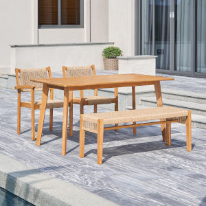 Chesapeake Brush Light Ashwood Four-Piece Patio Acacia Wooden Mixed Strapped Rattan Dining Set with Two-Seater Bench