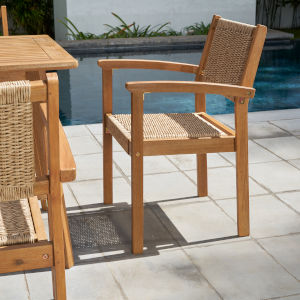 Chesapeake Brush Finishing Light Ashwood Patio Dining Chair, Set of Two