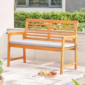 Waimea Honey and Gray Slatted Eucalyptus Wood Garden Bench with Cushion