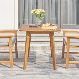 Waimea Oil-Rubbed Honey Slatted Eucalyptus Wood Patio Dining Table