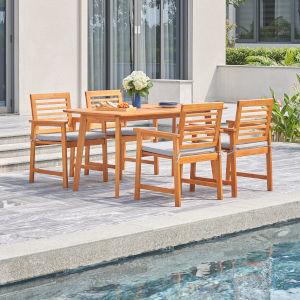 Waimea Oil-Rubbed Honey Teak Five-Piece Slatted Eucalyptus Wood Patio Dining Set with Cushion