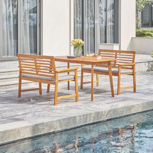 Waimea Oil-Rubbed Honey Teak Three-Piece Slatted Eucalyptus Wood Patio Dining Set with Bench and Cushion