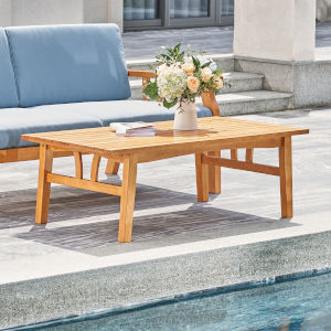 Kapalua Oil-Rubbed Honey Nautical Eucalyptus Wooden Outdoor Sofa Table