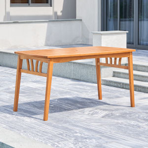 Kapalua Oil-Rubbed Honey Eucalyptus Wooden Outdoor Dining Table with Umbrella Hole