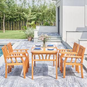 Kapalua Oil-Rubbed Honey Teak Five-Piece Eucalyptus Wooden Outdoor Dining Set