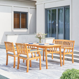 Kapalua Oil-Rubbed Honey Teak Four-Piece Wooden Outdoor Dining Set with Bench