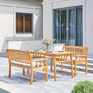 Kapalua Oil-Rubbed Honey Teak Three-Piece Wooden Outdoor Dining Set with Two Bench