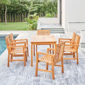 Olina Oil-Rubbed Honey Teak Seven-Piece Fish Bone Eucalyptus Wooden Outdoor Dining Set