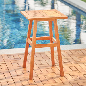 Olina Oil-Rubbed Honey Fish Bone Eucalyptus Wooden Outdoor Side Table