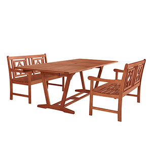 Malibu Brown 3-piece Patio Extendable Table Dining Set with Two 48-Inch Diamond Benches
