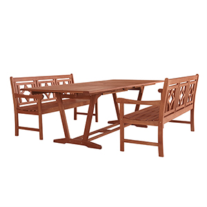 Malibu Brown 3-piece Patio Extendable Table Dining Set with Two 57-Inch Diamond Benches