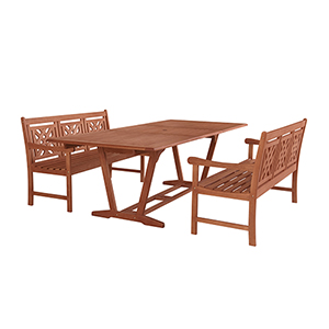 Malibu Brown 3-piece Patio Extendable Table Dining Set with Two 57-Inch Plaid Benches
