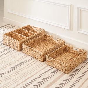 Amelia Sandy Three-Piece Wicker Storage and Organizing Tray Set