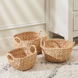 Amelia Sandy Three-Piece Picnic and Grocery Basket Set with Handles