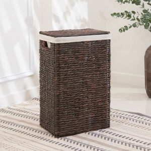 Leilani Gray and Brown Lidded Storage Laundry Hamper Basket with Washable Polyester Liner