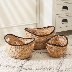 Eliana Sandy Three-Piece Storage Basket Set with Black Rim and Hole Handles