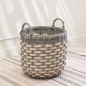 Valeria Gray White 11-Inch Storage Plant Pot Basket Set with Handles, Set of 2