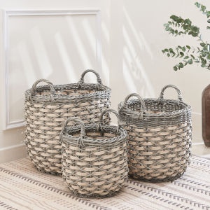 Valeria Gray White Three-Piece Plant Pot and Laundry Basket Set with Handles