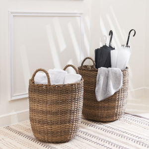 Lucia Dark Brown Light Brown Two-Piece Storage and Organizing Basket Set with Handles