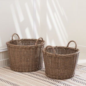 Mila Mocha Storage and Organizing Basket Set with Handles, Set of 2