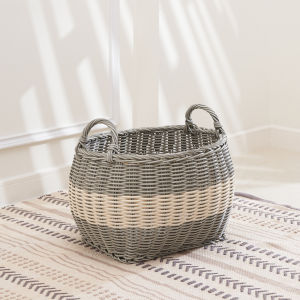 Hannah Gray White 13-Inch Storage Basket Set with Handles, Set of 2