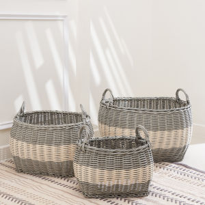 Hannah Gray White Three-Piece Storage and Laundry Basket Set with Handles
