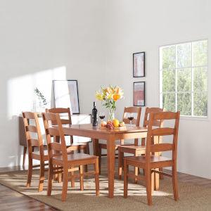 Elsmere Light Red Alder Seven-Piece Wood Ladderback Chair Dining Set