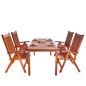 Malibu Outdoor 5-piece Wood Patio Dining Set with Reclining Chairs