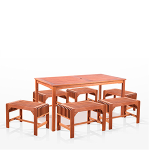 Malibu Outdoor 7-piece Wood Patio Dining Set with Backless Chairs