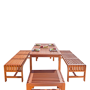 Malibu Outdoor 5-piece Wood Patio Dining Set with Backless Bench and Chairs
