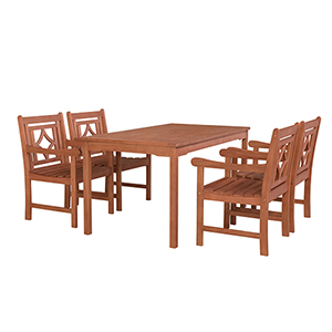 Malibu Brown 5-piece Patio Rectangular Table Dining Set
