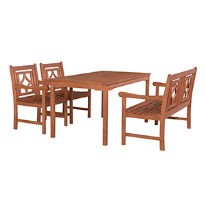 Malibu Brown 4-piece Patio Rectangular Table Dining Set with One 48-Inch Bench and Two Diamond Chairs