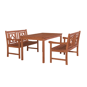 Malibu Brown 3-piece Patio Rectangular Table Dining Set with Two 48-Inch Diamond Benches
