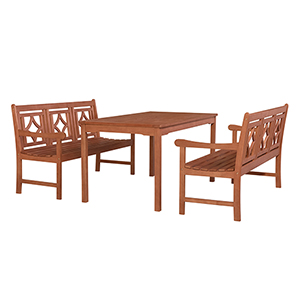 Malibu Brown 3-piece Patio Rectangular Table Dining Set with Two 57-Inch Diamond Benches