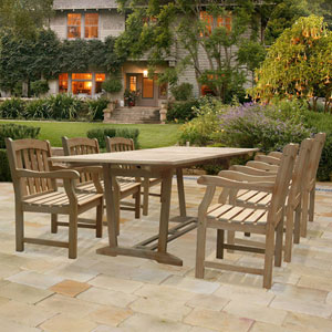 Renaissance Rectangular Extension Table and Armchair Outdoor Hand-scraped Hardwood Dining Set w/ Six Chairs