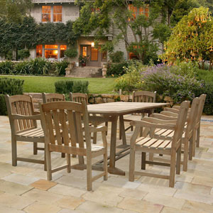 Renaissance Rectangular Extension Table and Armchair Outdoor Hand-scraped Hardwood Dining Set w/ Eight Chairs