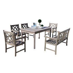Renaissance Outdoor 6-piece Hand-scraped Wood Patio Dining Set with 4-foot Bench