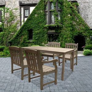Renaissance Outdoor 5-piece Hand-scraped Wood Patio Dining Set