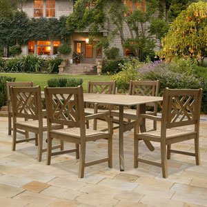 Renaissance Outdoor 7-piece Hand-scraped Wood Patio Dining Set