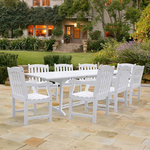 Bradley Rectangular Extension Table and Armchair Outdoor Wood Dining Set w/ Eight Chairs