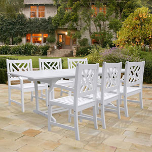 Bradley Rectangular Extension Table and Armchair Outdoor Wood Dining Set w/ Six Chairs