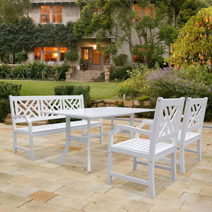 Bradley Outdoor 4-piece Wood Patio Dining Set with 5-foot Bench in White