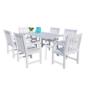 Bradley Outdoor 7-piece Wood Patio Dining Set in White