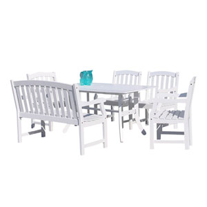 Bradley Outdoor 6-piece Wood Patio Dining Set with 4-foot Bench in White