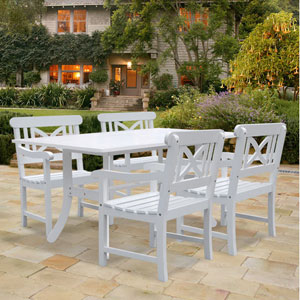 Bradley Outdoor 5-piece Wood Patio Dining Set in White