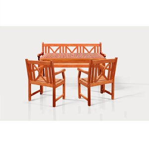 Malibu Outdoor 4-piece Wood Patio Dining Set with 5-foot Bench and Chairs